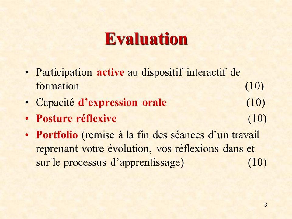 8 Evaluation Participation active au dispositif interactif de formation (10) Capacité dexpression orale (10) Posture réflexive (10) Portfolio (remise