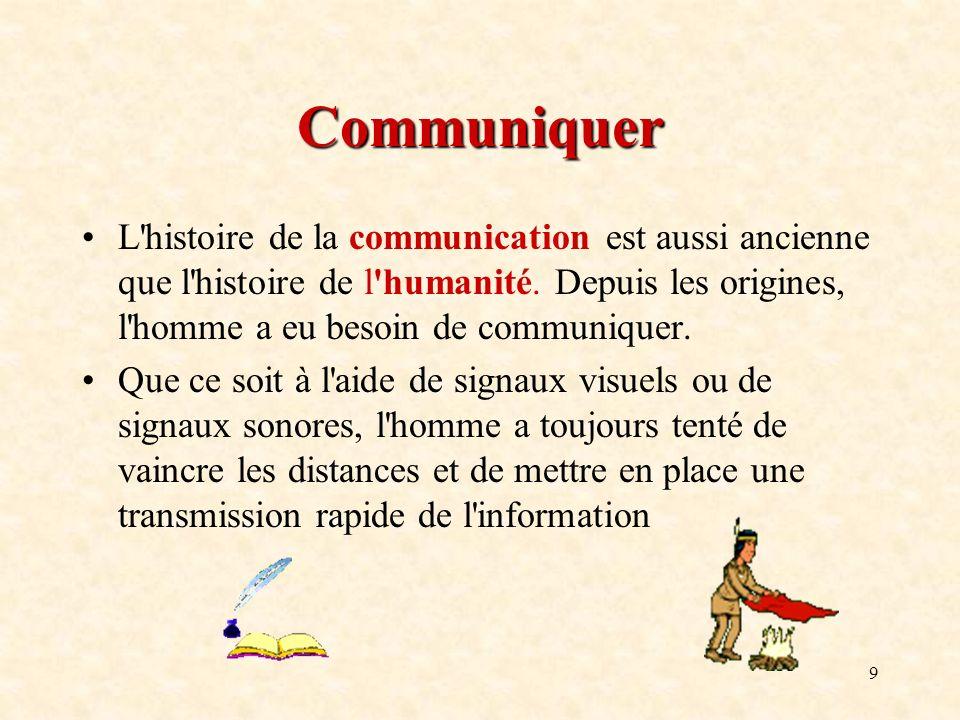 9 Communiquer L'histoire de la communication est aussi ancienne que l'histoire de l'humanité. Depuis les origines, l'homme a eu besoin de communiquer.