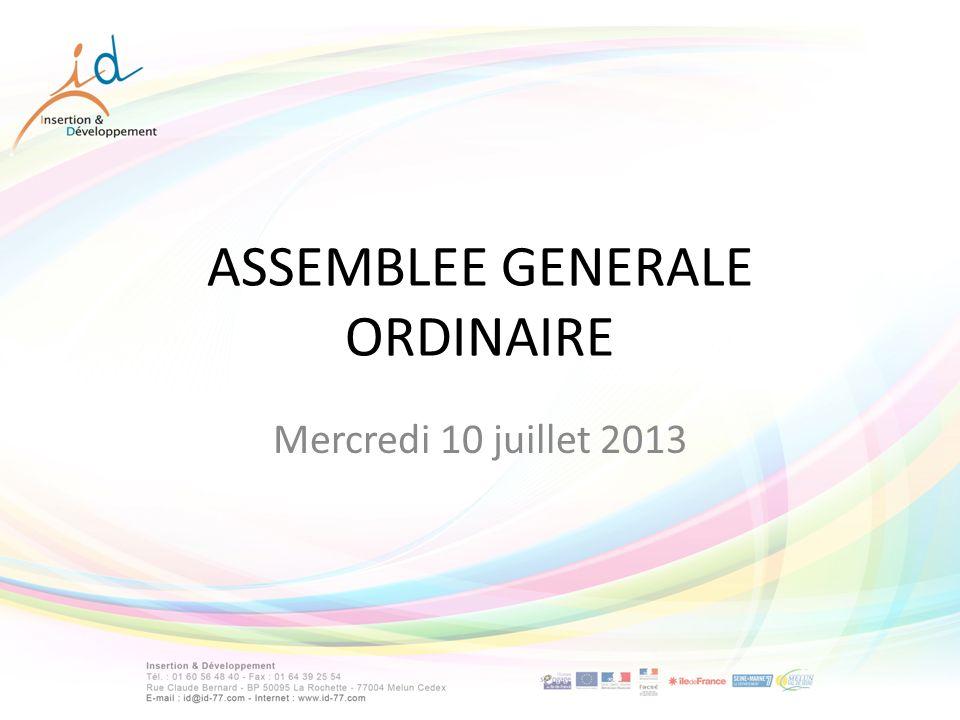 ASSEMBLEE GENERALE ORDINAIRE Mercredi 10 juillet 2013