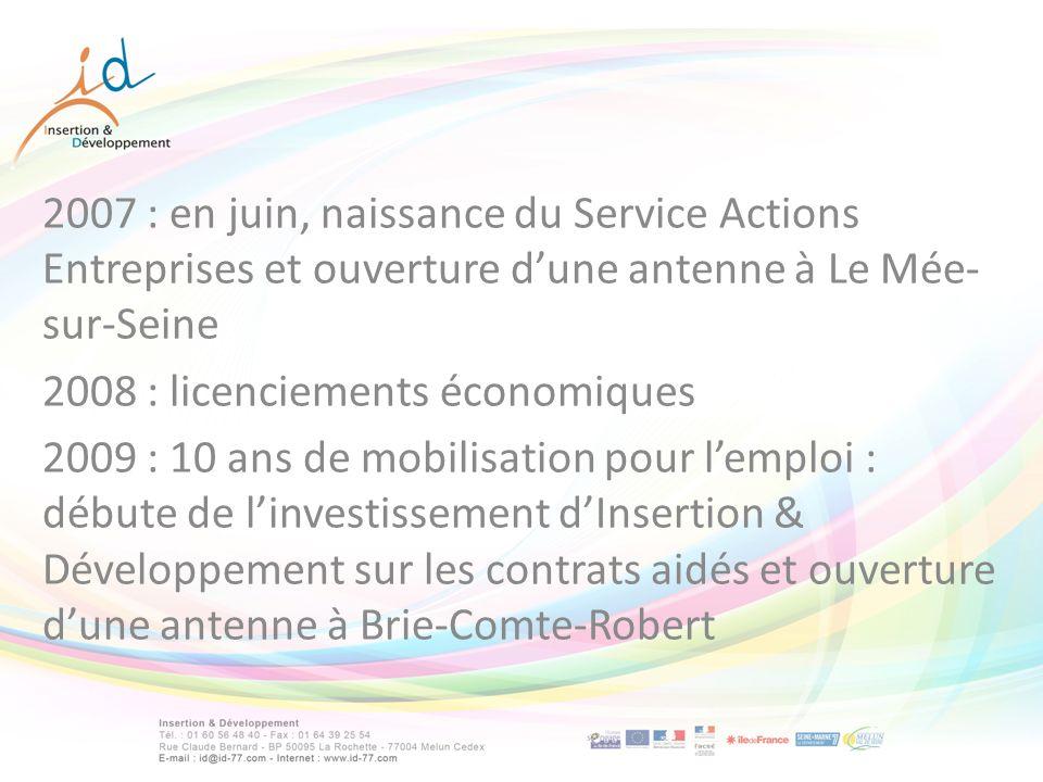 2007 : en juin, naissance du Service Actions Entreprises et ouverture dune antenne à Le Mée- sur-Seine 2008 : licenciements économiques 2009 : 10 ans de mobilisation pour lemploi : débute de linvestissement dInsertion & Développement sur les contrats aidés et ouverture dune antenne à Brie-Comte-Robert