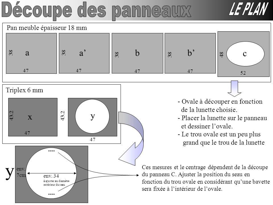 Pan meuble épaisseur 18 mm 47 38 a 47 38 a 47 38 47 38 bb 48 52 c Triplex 6 mm env. 34 à ajuster au diamètre extérieur du seau 47 43.2 x 47 43.2 y y e