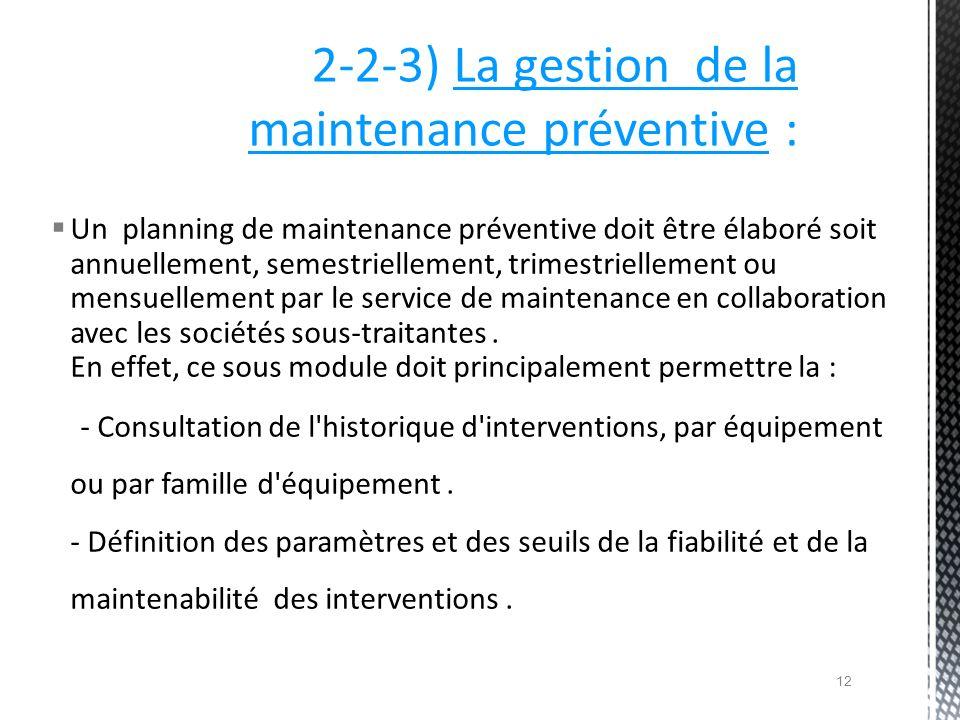 Un planning de maintenance préventive doit être élaboré soit annuellement, semestriellement, trimestriellement ou mensuellement par le service de main