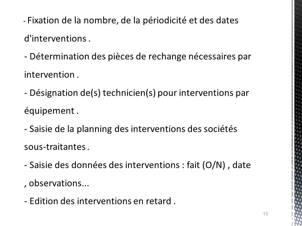 - Fixation de la nombre, de la périodicité et des dates d'interventions. - Détermination des pièces de rechange nécessaires par intervention. - Désign