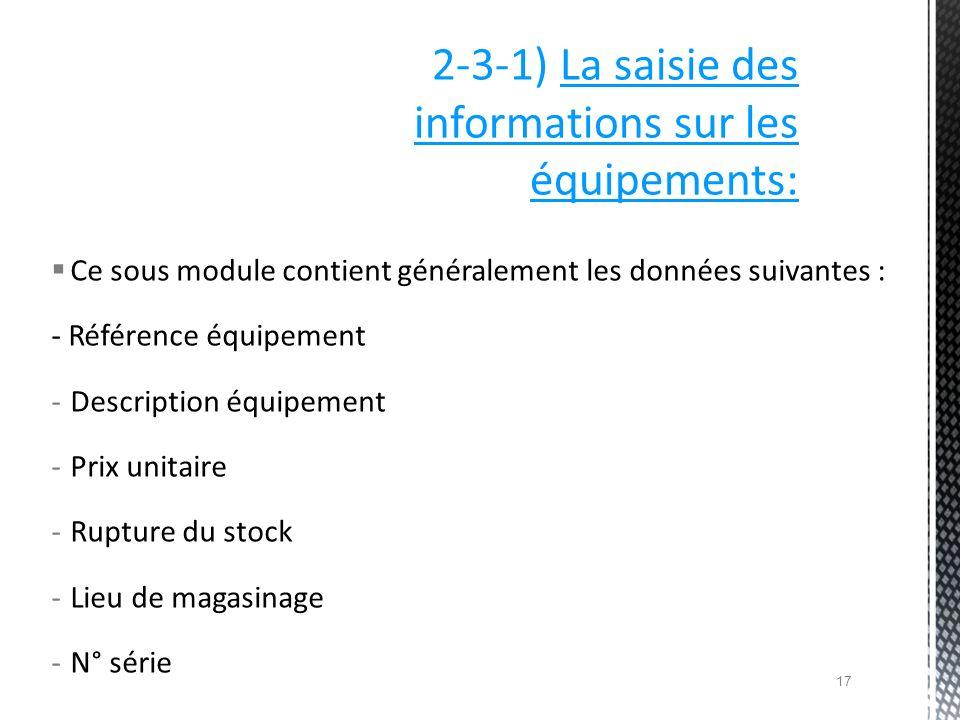 Ce sous module contient généralement les données suivantes : - Référence équipement -Description équipement -Prix unitaire -Rupture du stock -Lieu de