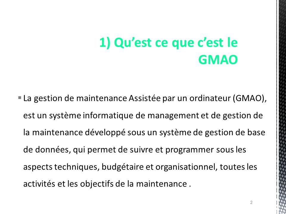 La gestion de maintenance Assistée par un ordinateur (GMAO), est un système informatique de management et de gestion de la maintenance développé sous