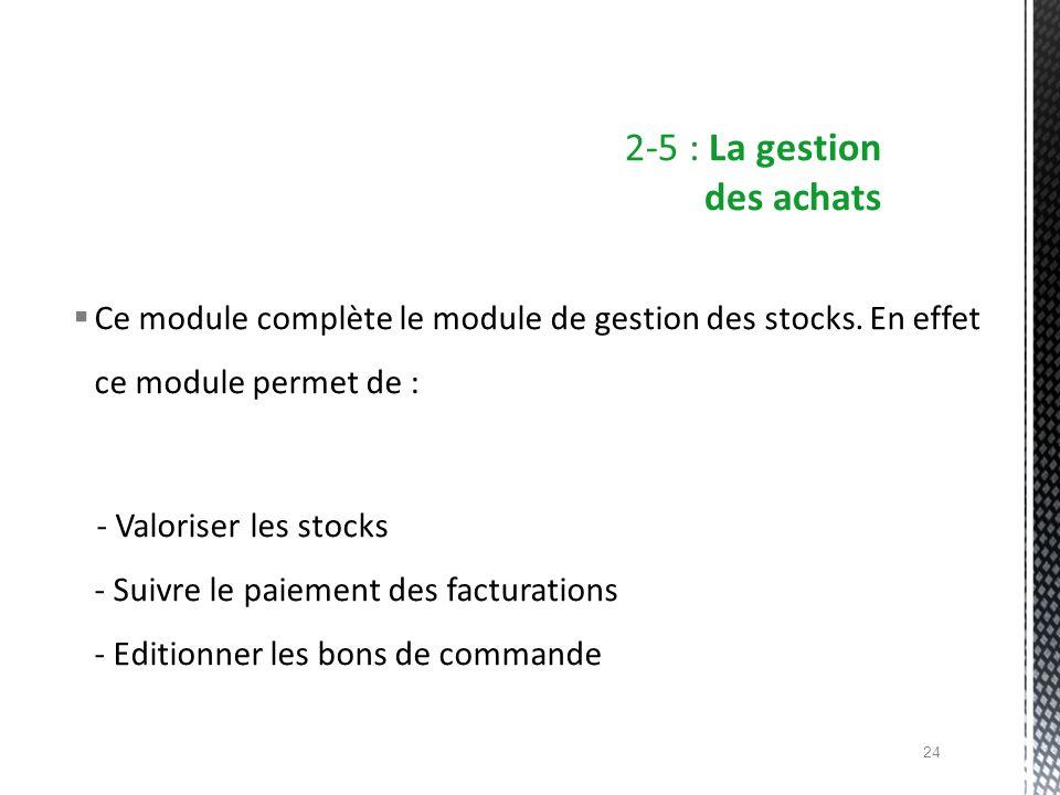 Ce module complète le module de gestion des stocks. En effet ce module permet de : - Valoriser les stocks - Suivre le paiement des facturations - Edit