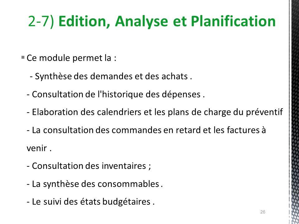 Ce module permet la : - Synthèse des demandes et des achats. - Consultation de l'historique des dépenses. - Elaboration des calendriers et les plans d