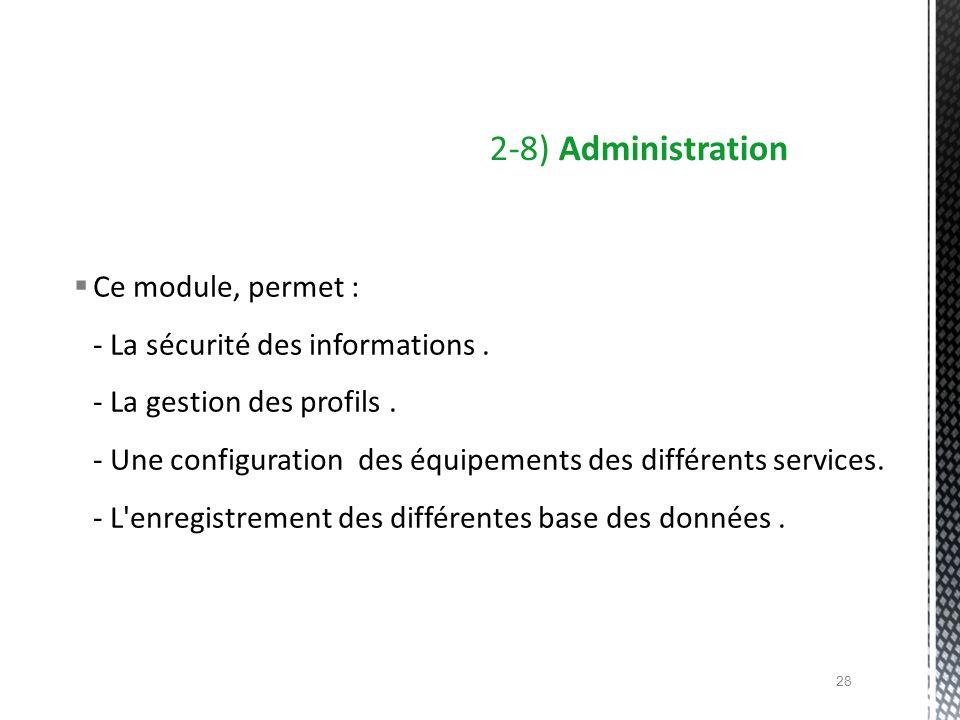 Ce module, permet : - La sécurité des informations. - La gestion des profils. - Une configuration des équipements des différents services. - L'enregis