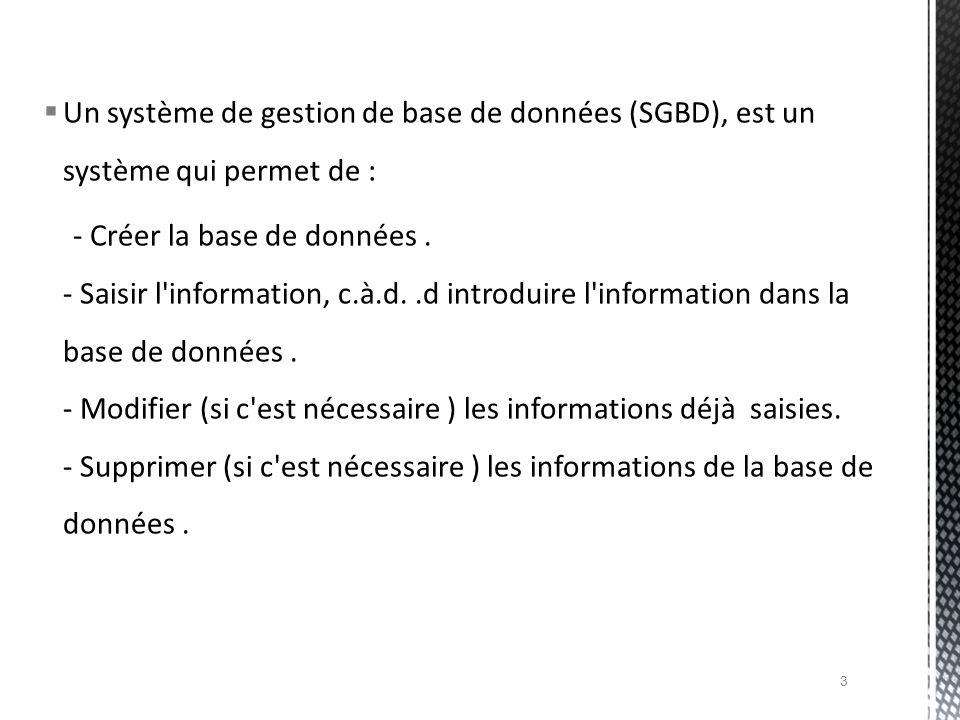 Une base de données est un ensemble d informations ayant un rapport entre elles.