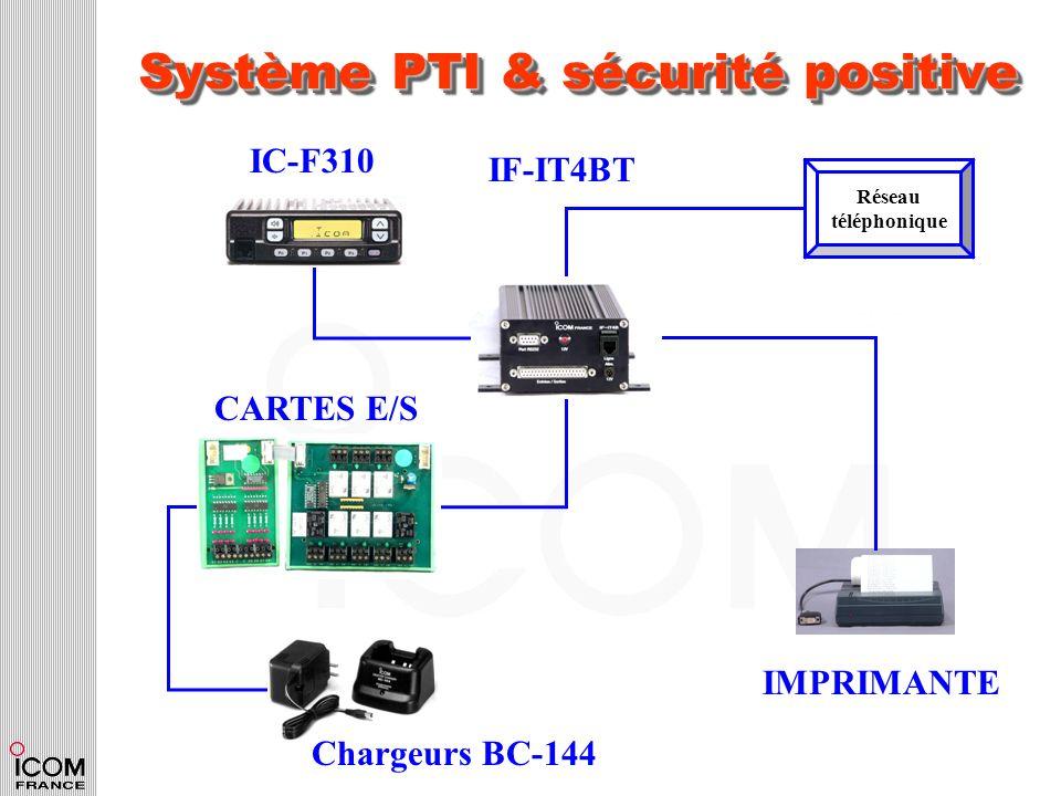 Système PTI & sécurité positive Réseau téléphonique IF-IT4BT IC-F310 CARTES E/S IMPRIMANTE Chargeurs BC-144