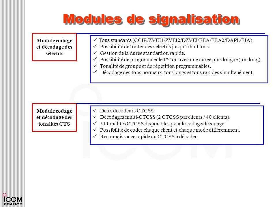 Modules de signalisation Module codage et décodage des sélectifs Tous standards (CCIR/ZVEI1/ZVEI2/DZVEI/EEA/EEA2/DAPL/EIA) Possibilité de traiter des