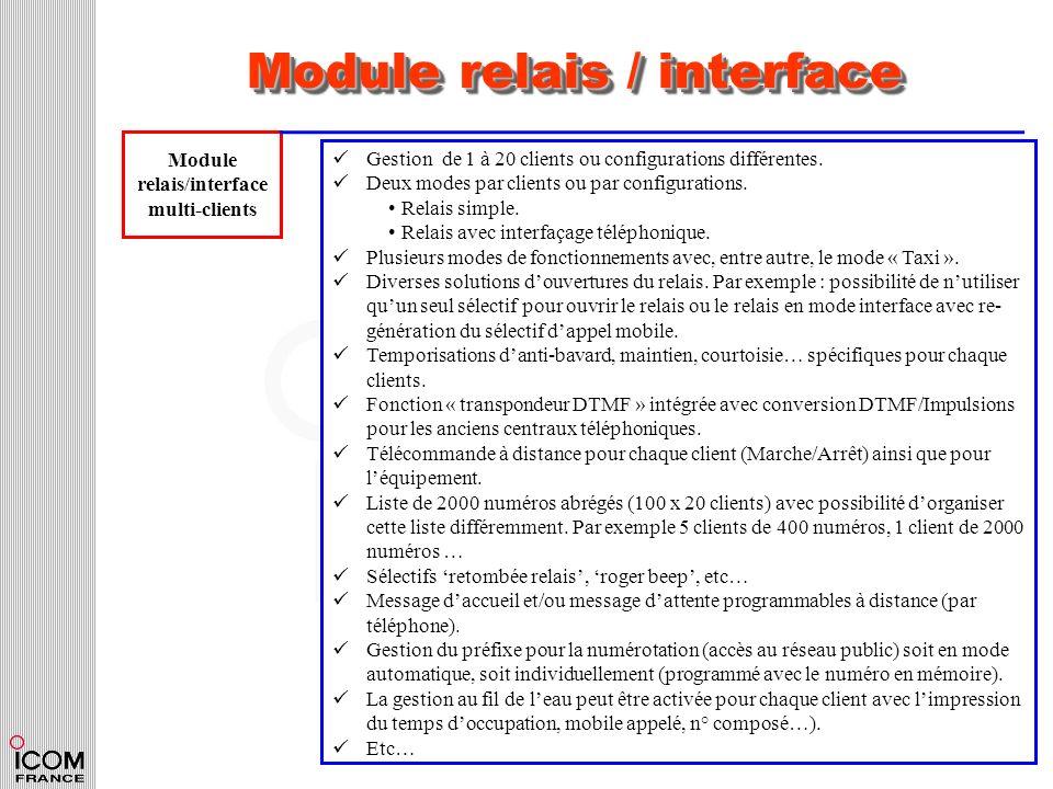 Module relais / interface Module relais/interface multi-clients Gestion de 1 à 20 clients ou configurations différentes. Deux modes par clients ou par