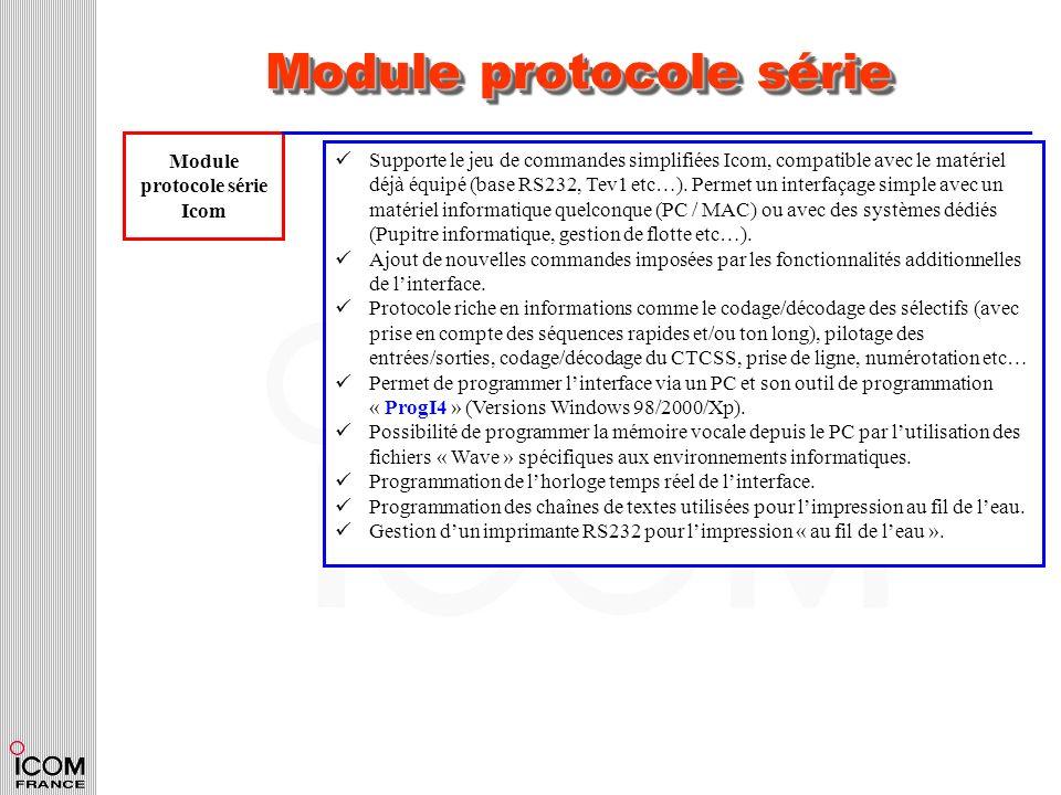 Module protocole série Module protocole série Icom Supporte le jeu de commandes simplifiées Icom, compatible avec le matériel déjà équipé (base RS232,
