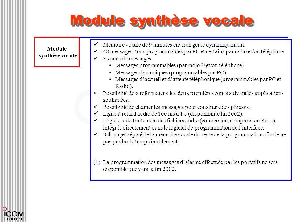 Module synthèse vocale Module synthèse vocale Mémoire vocale de 9 minutes environ gérée dynamiquement. 48 messages, tous programmables par PC et certa