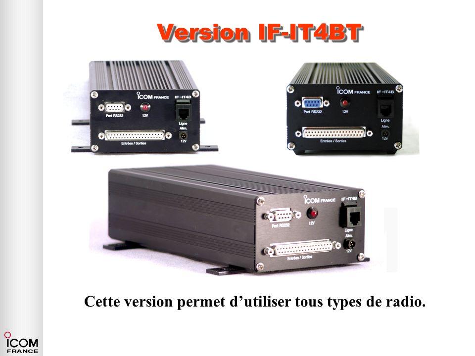 Version IF-IT4BT Cette version permet dutiliser tous types de radio.