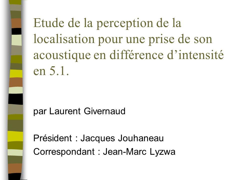 Etude de la perception de la localisation pour une prise de son acoustique en différence dintensité en 5.1.