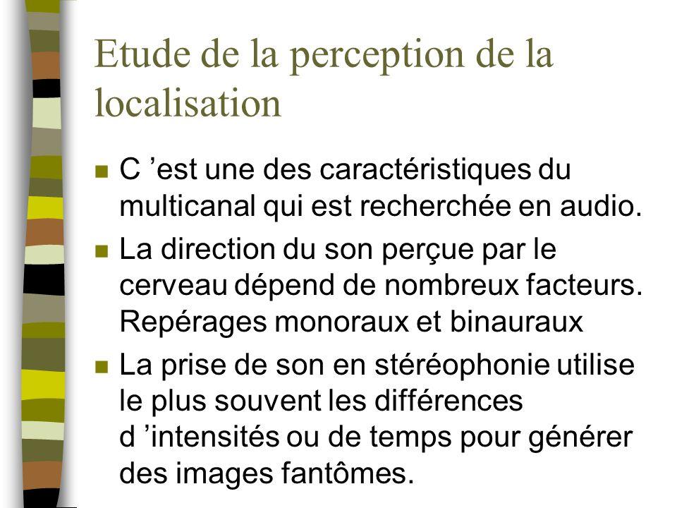 Etude de la perception de la localisation n C est une des caractéristiques du multicanal qui est recherchée en audio.