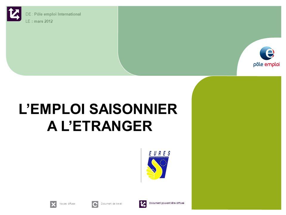 1 LEMPLOI SAISONNIER A LETRANGER DE : Pôle emploi International LE : mars 2012 Ne pas diffuserDocument de travail Document pouvant être diffusé