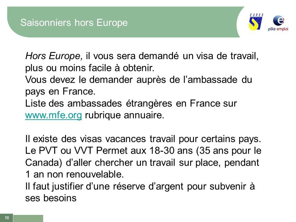 10 Saisonniers hors Europe Hors Europe, il vous sera demandé un visa de travail, plus ou moins facile à obtenir. Vous devez le demander auprès de lamb