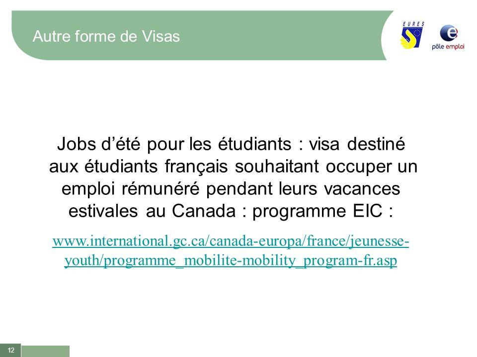 12 Autre forme de Visas Jobs dété pour les étudiants : visa destiné aux étudiants français souhaitant occuper un emploi rémunéré pendant leurs vacance