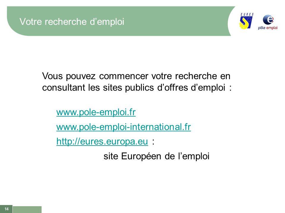 14 Votre recherche demploi Vous pouvez commencer votre recherche en consultant les sites publics doffres demploi : www.pole-emploi.fr www.pole-emploi-