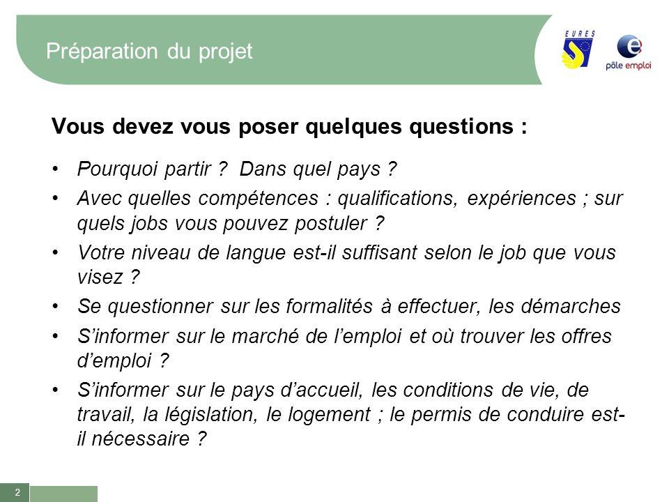 2 Préparation du projet Vous devez vous poser quelques questions : Pourquoi partir ? Dans quel pays ? Avec quelles compétences : qualifications, expér