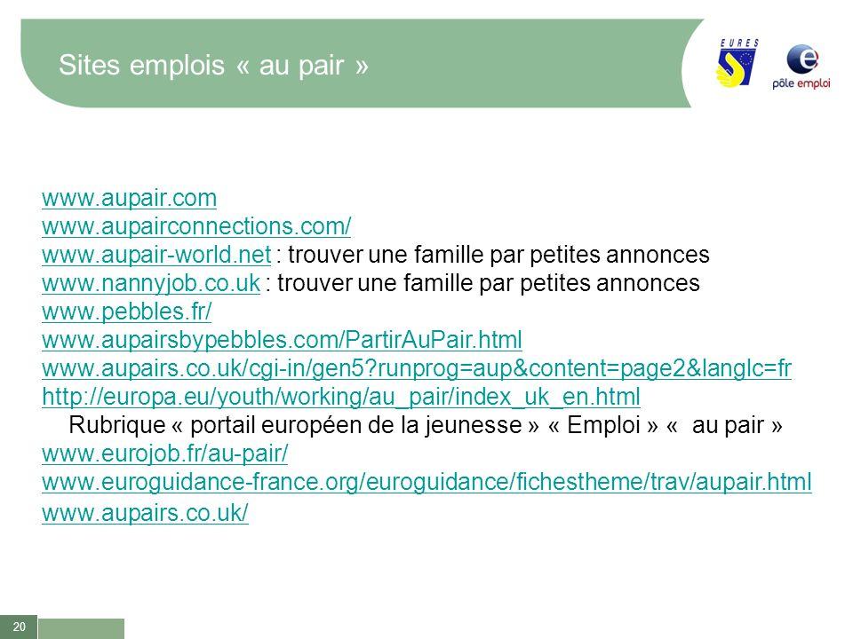 20 Sites emplois « au pair » www.aupair.com www.aupairconnections.com/ www.aupair-world.netwww.aupair-world.net : trouver une famille par petites anno