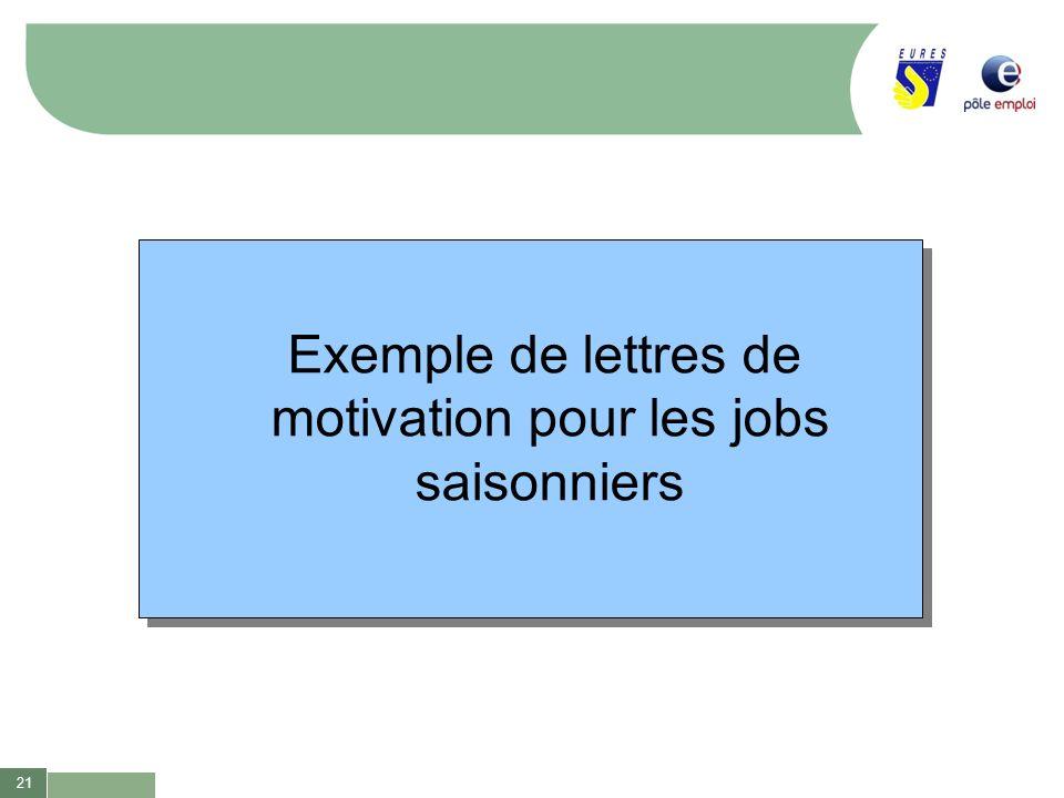 21 Exemple de lettres de motivation pour les jobs saisonniers