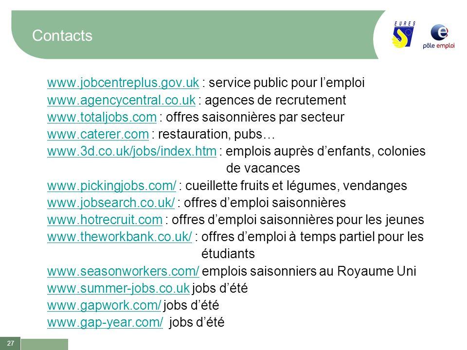27 Contacts www.jobcentreplus.gov.ukwww.jobcentreplus.gov.uk : service public pour lemploi www.agencycentral.co.ukwww.agencycentral.co.uk : agences de