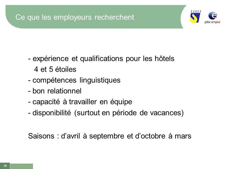 30 Ce que les employeurs recherchent - expérience et qualifications pour les hôtels 4 et 5 étoiles - compétences linguistiques - bon relationnel - cap