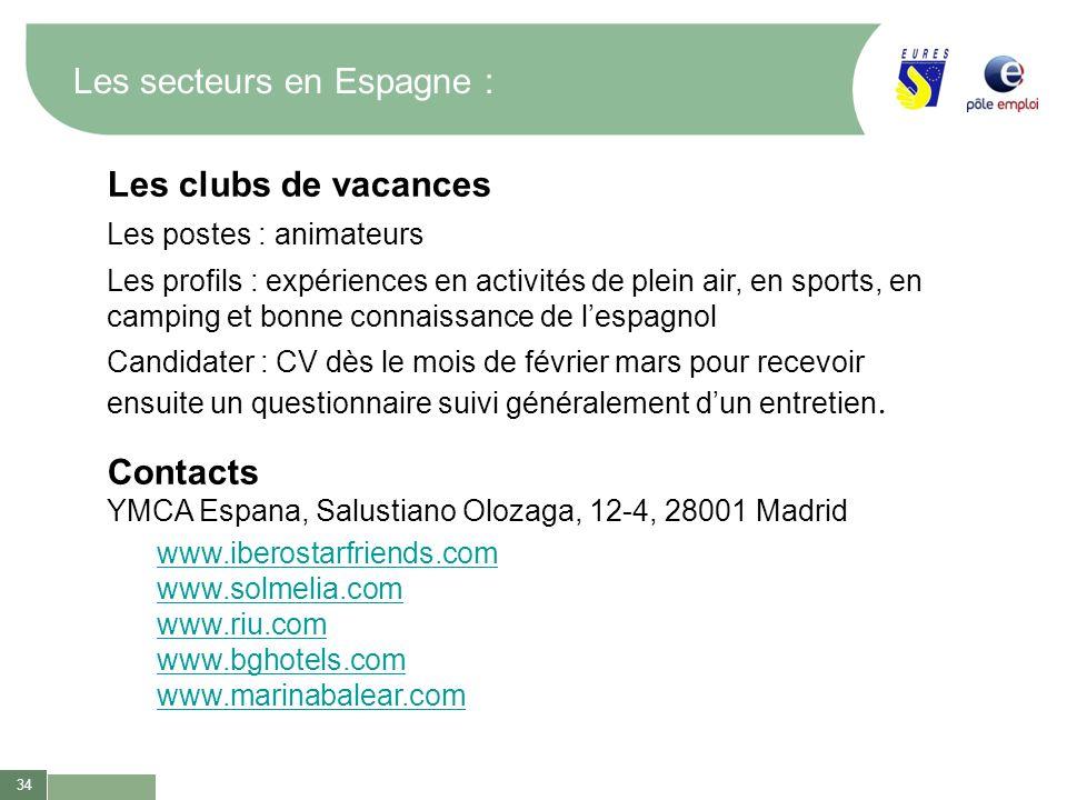 34 Les secteurs en Espagne : Les clubs de vacances Les postes : animateurs Les profils : expériences en activités de plein air, en sports, en camping