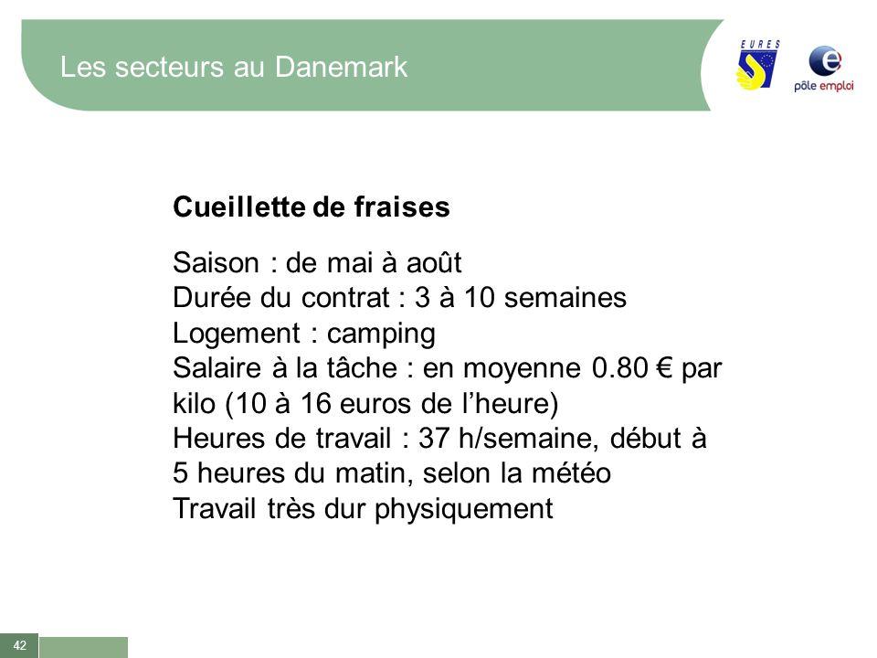 42 Les secteurs au Danemark Cueillette de fraises Saison : de mai à août Durée du contrat : 3 à 10 semaines Logement : camping Salaire à la tâche : en