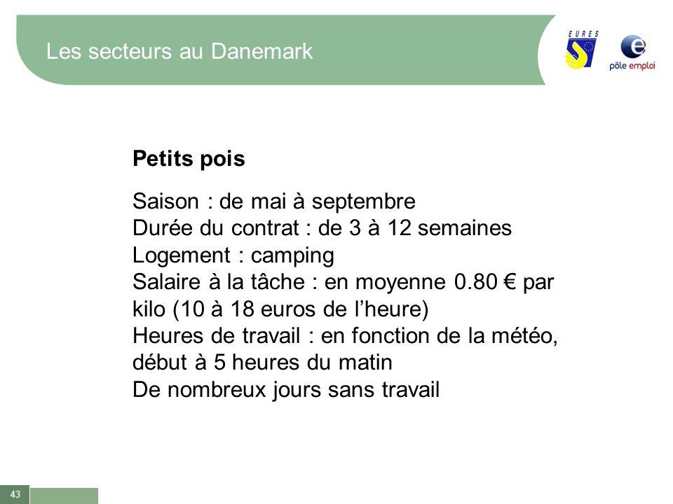 43 Les secteurs au Danemark Petits pois Saison : de mai à septembre Durée du contrat : de 3 à 12 semaines Logement : camping Salaire à la tâche : en m