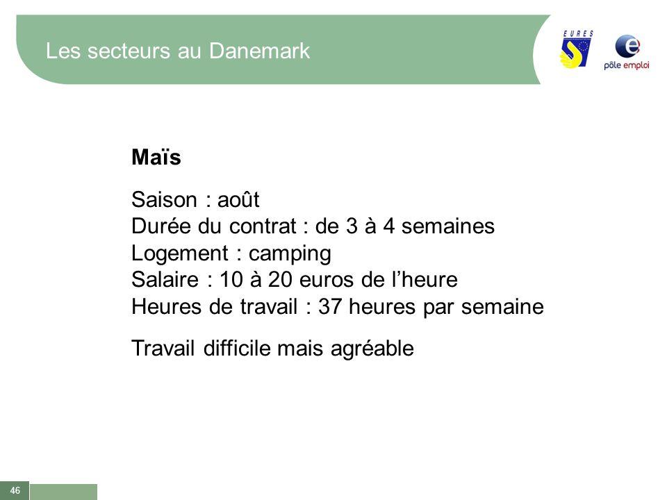 46 Les secteurs au Danemark Maïs Saison : août Durée du contrat : de 3 à 4 semaines Logement : camping Salaire : 10 à 20 euros de lheure Heures de tra