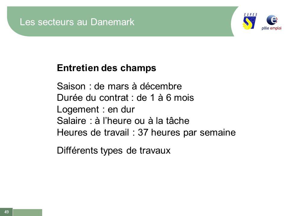 49 Les secteurs au Danemark Entretien des champs Saison : de mars à décembre Durée du contrat : de 1 à 6 mois Logement : en dur Salaire : à lheure ou