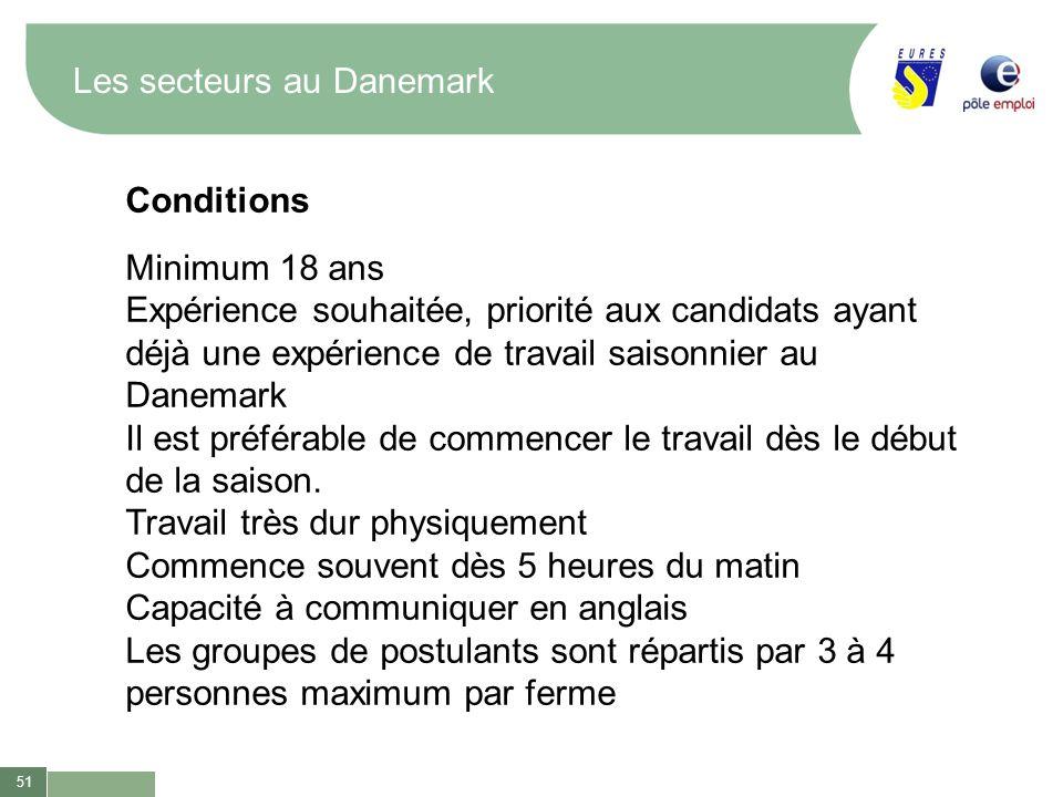 51 Les secteurs au Danemark Conditions Minimum 18 ans Expérience souhaitée, priorité aux candidats ayant déjà une expérience de travail saisonnier au