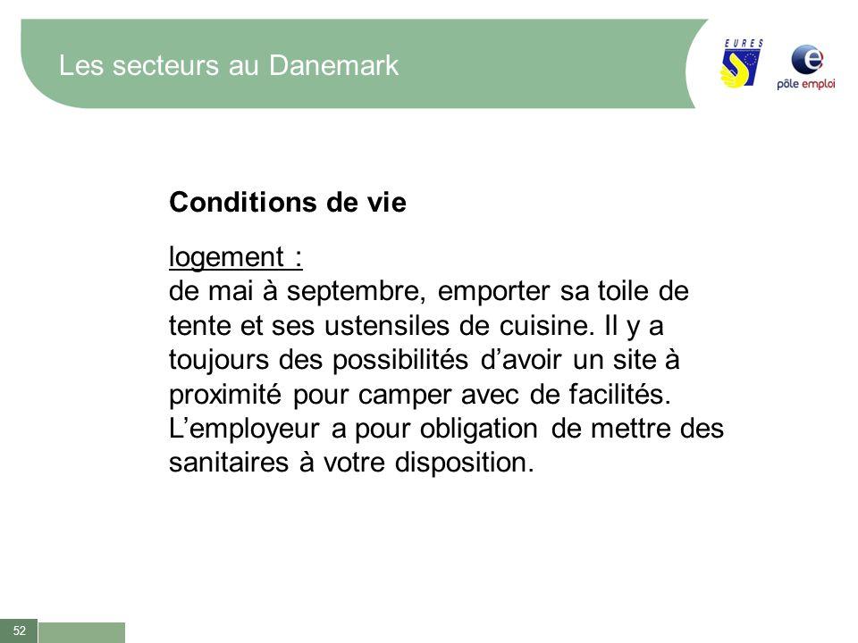 52 Les secteurs au Danemark Conditions de vie logement : de mai à septembre, emporter sa toile de tente et ses ustensiles de cuisine. Il y a toujours