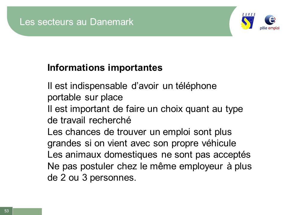 53 Les secteurs au Danemark Informations importantes Il est indispensable davoir un téléphone portable sur place Il est important de faire un choix qu