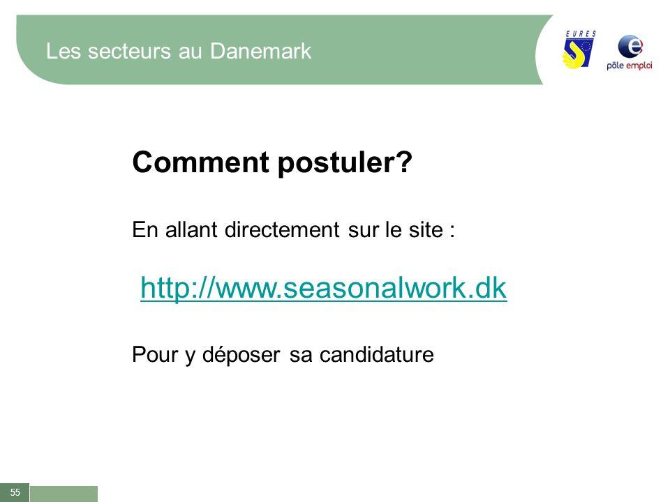 55 Les secteurs au Danemark Comment postuler? En allant directement sur le site : http://www.seasonalwork.dk Pour y déposer sa candidature