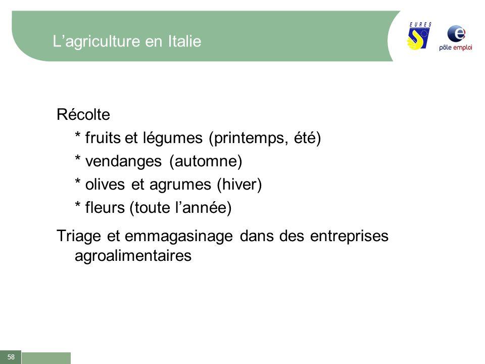 58 Lagriculture en Italie Récolte * fruits et légumes (printemps, été) * vendanges (automne) * olives et agrumes (hiver) * fleurs (toute lannée) Triag