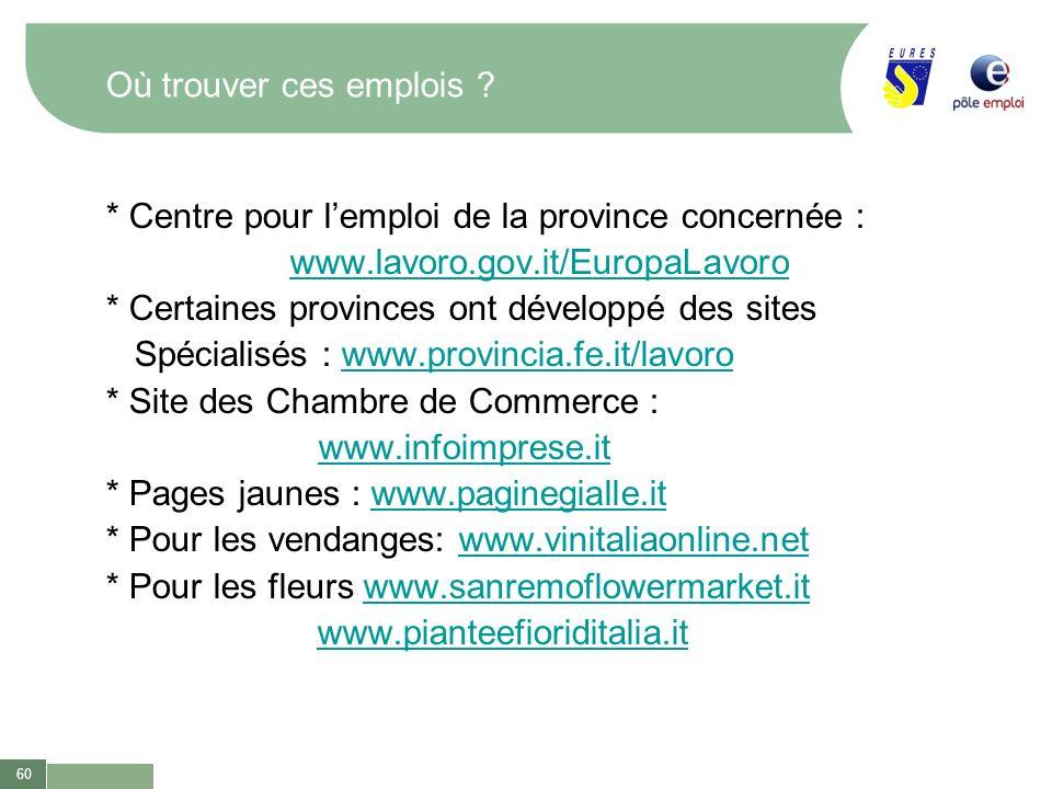 60 Où trouver ces emplois ? * Centre pour lemploi de la province concernée : www.lavoro.gov.it/EuropaLavoro * Certaines provinces ont développé des si