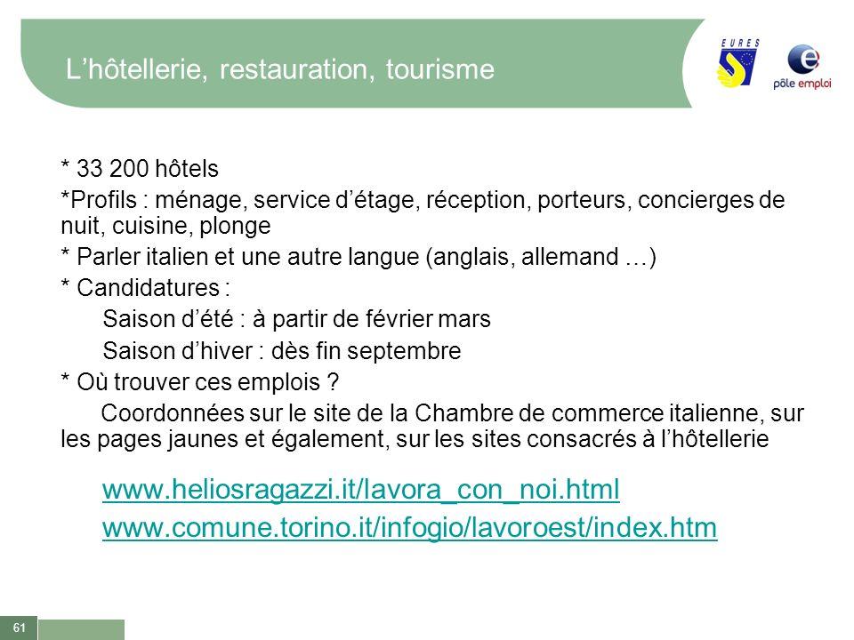 61 Lhôtellerie, restauration, tourisme * 33 200 hôtels *Profils : ménage, service détage, réception, porteurs, concierges de nuit, cuisine, plonge * P
