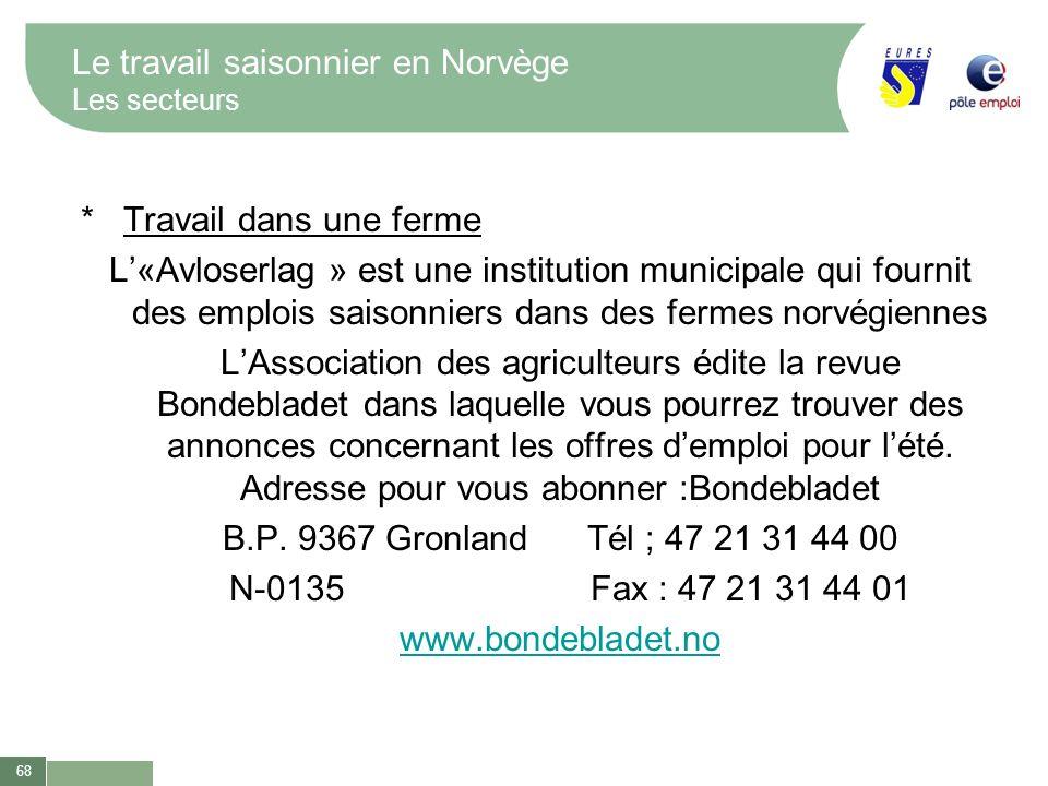 68 Le travail saisonnier en Norvège Les secteurs * Travail dans une ferme L«Avloserlag » est une institution municipale qui fournit des emplois saison