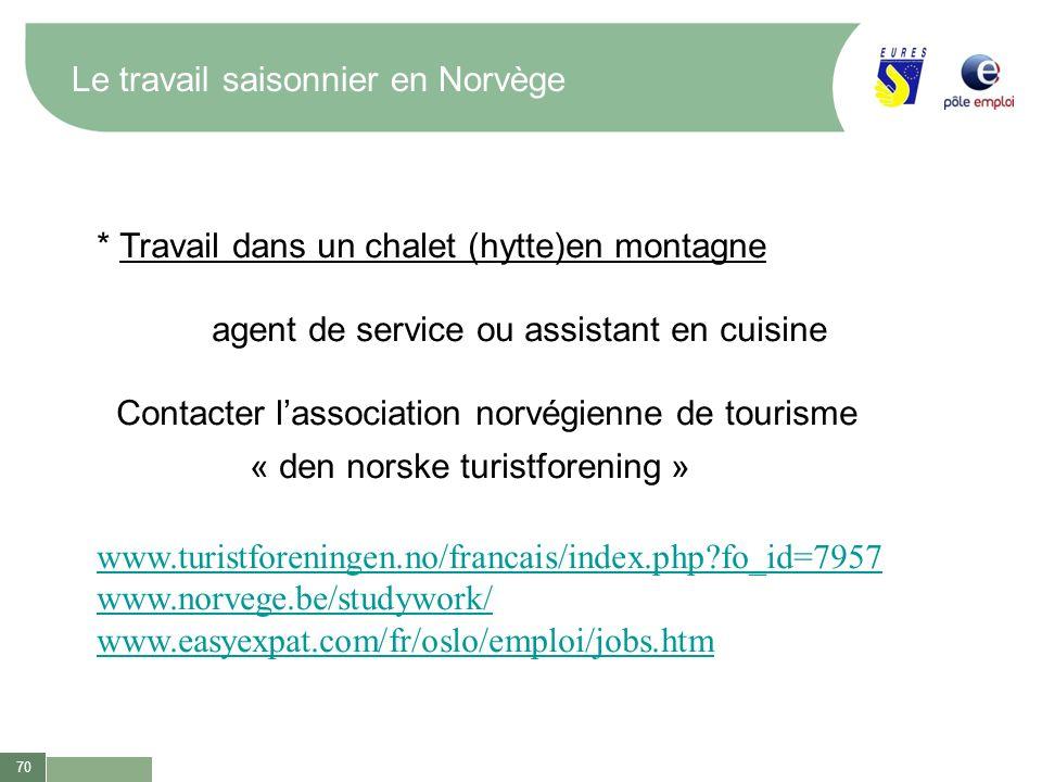 70 Le travail saisonnier en Norvège * Travail dans un chalet (hytte)en montagne agent de service ou assistant en cuisine Contacter lassociation norvég