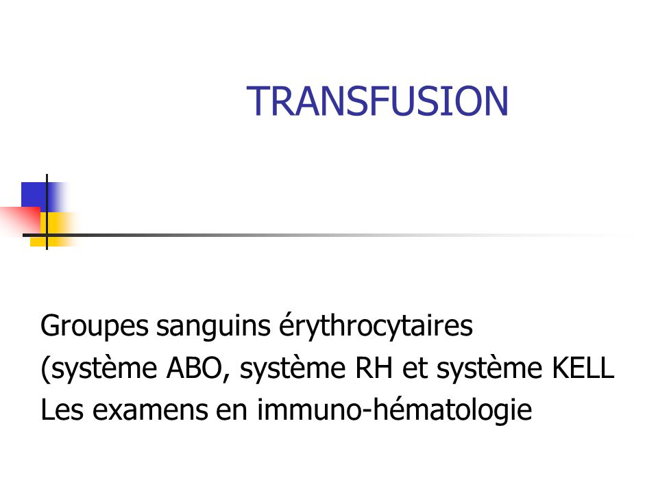 Exigences relatives aux échantillons : Qualité et quantité : Type danalyseNombre de ml sur anticoagulantNombre de ml sur tube sec ou anticoagulant Groupe ABO.RH1 et phénotype RH.KEL15 RAI chez ladulte5 ABO.RH1 et RH.K et RAI chez ladulte5 RAI chez le nouveau-né5 ABO.RH1 et RH.K et RAI chez le nouveau-né5 Titrage et dosage pondéral anti-RH115 Test de Kleihauer5 Bilan de réaction transfusionnelle55 Bilan de maladie hémolytique du nouveau-né5 AHAI : TCD–Elution–Hémolysine–AF-RAI10 Test de Coombs Direct (TCD)5 - Identification du patient : Nom patronymique / Nom marital / Prénom(s) / Date de naissance / Sexe.