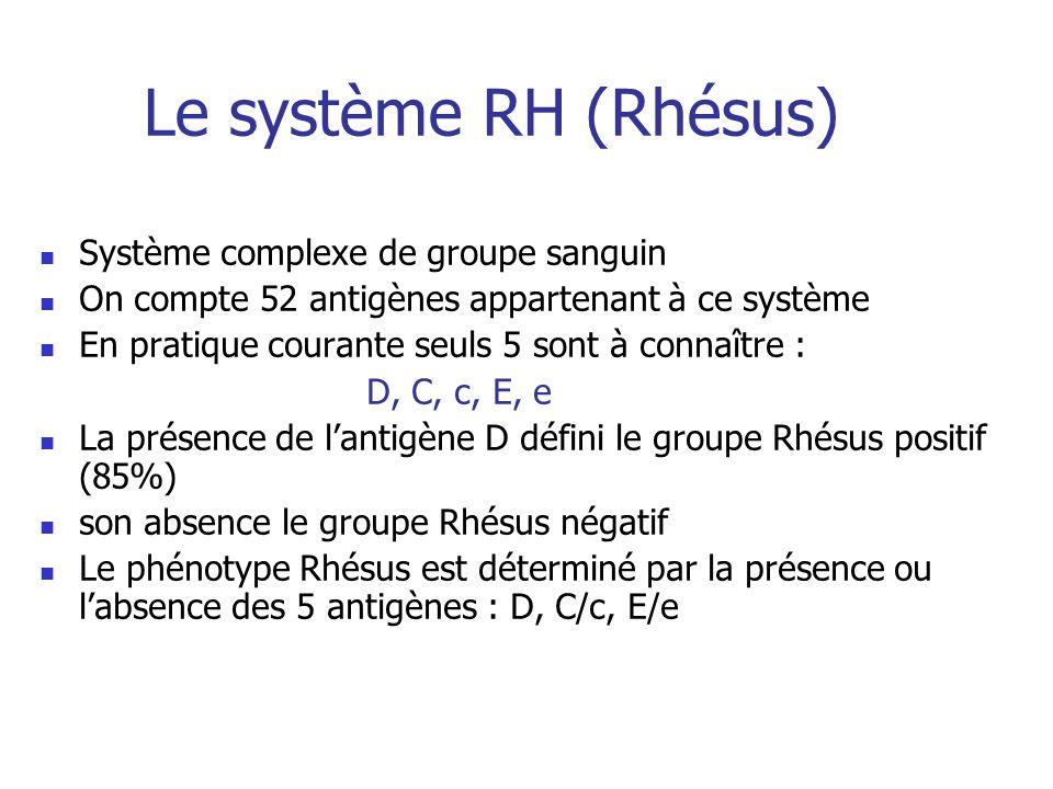 Le système RH (Rhésus) Système complexe de groupe sanguin On compte 52 antigènes appartenant à ce système En pratique courante seuls 5 sont à connaîtr