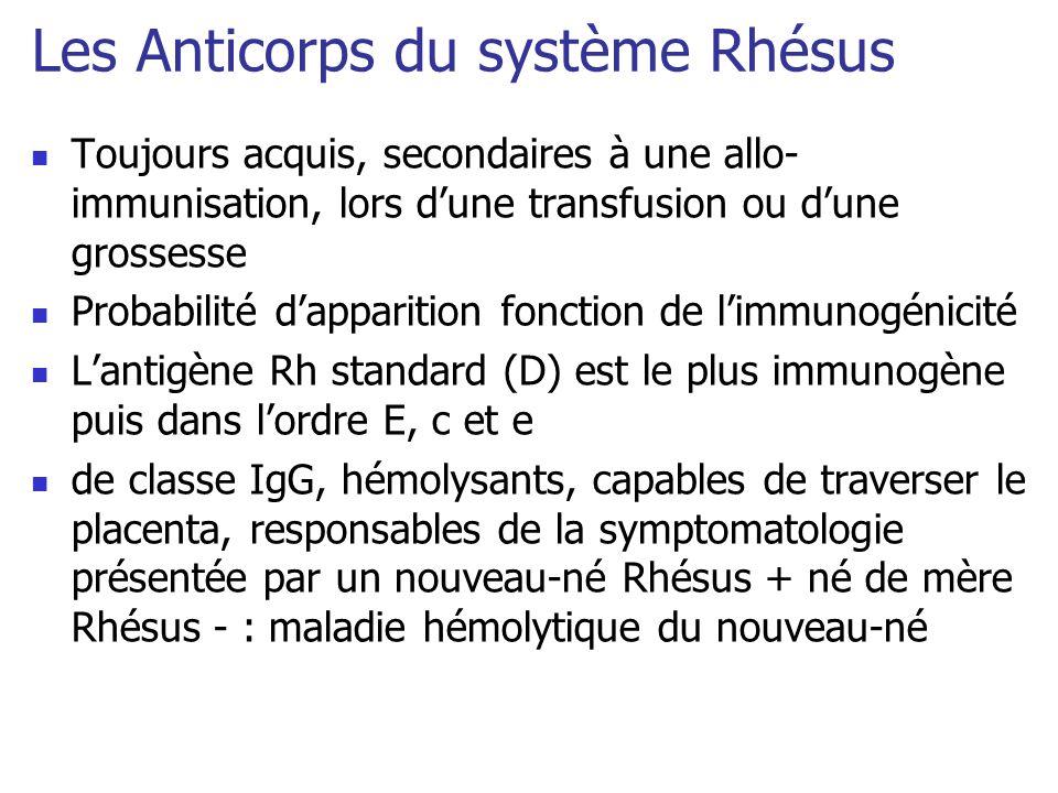 Les Anticorps du système Rhésus Toujours acquis, secondaires à une allo- immunisation, lors dune transfusion ou dune grossesse Probabilité dapparition