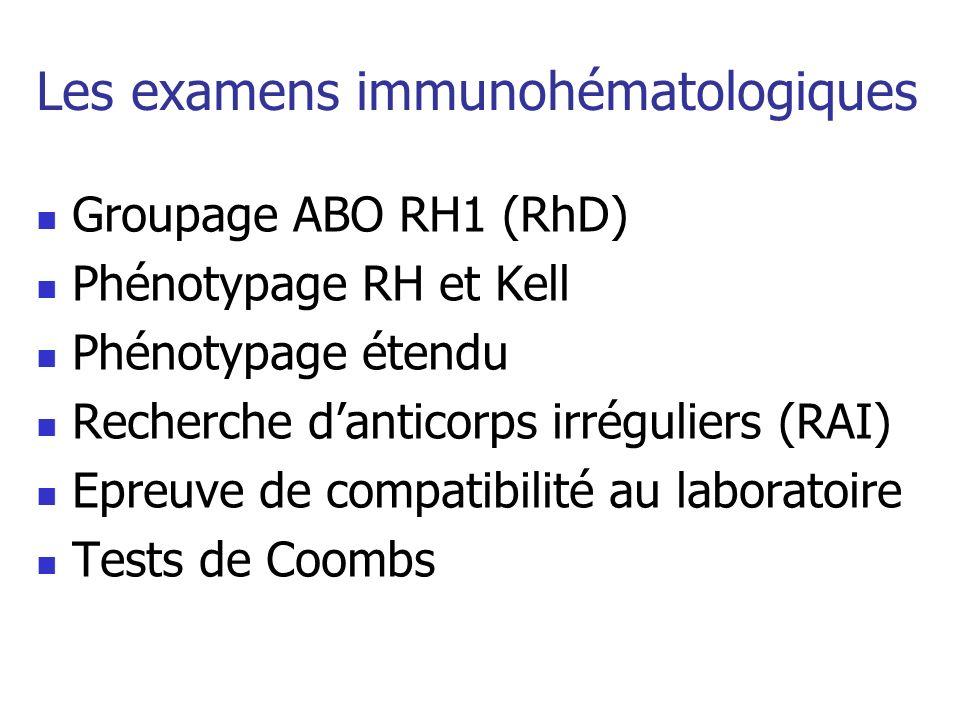 Les examens immunohématologiques Groupage ABO RH1 (RhD) Phénotypage RH et Kell Phénotypage étendu Recherche danticorps irréguliers (RAI) Epreuve de co