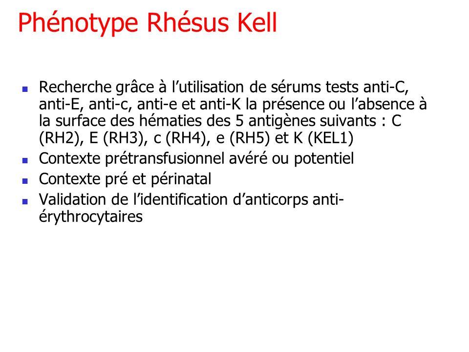 Phénotype Rhésus Kell Recherche grâce à lutilisation de sérums tests anti-C, anti-E, anti-c, anti-e et anti-K la présence ou labsence à la surface des