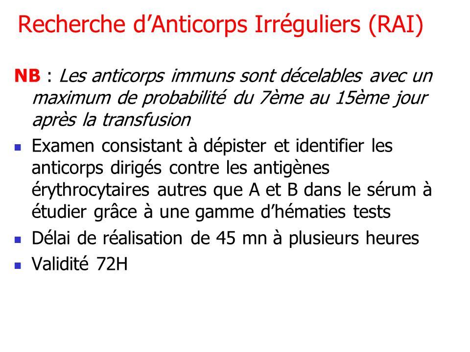 Recherche dAnticorps Irréguliers (RAI) NB : Les anticorps immuns sont décelables avec un maximum de probabilité du 7ème au 15ème jour après la transfu